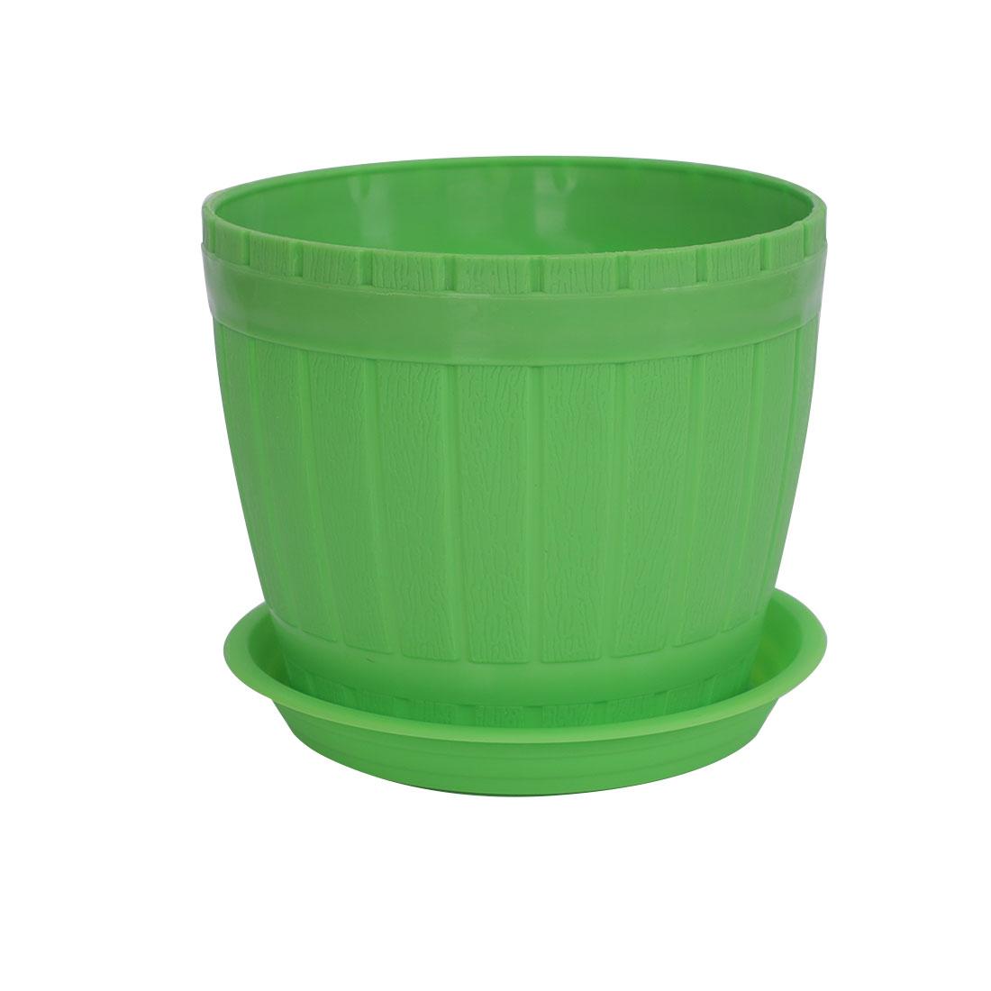 Home Windowsill Hotel Plastic Barrel Shape Plant Flower Pot Planter Green w Tray