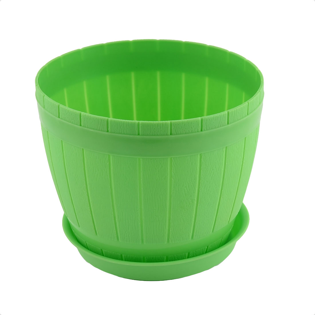 Home Office Hotel Desk Plastic Casks Shape Plant Flower Pot Holder Green w Tray
