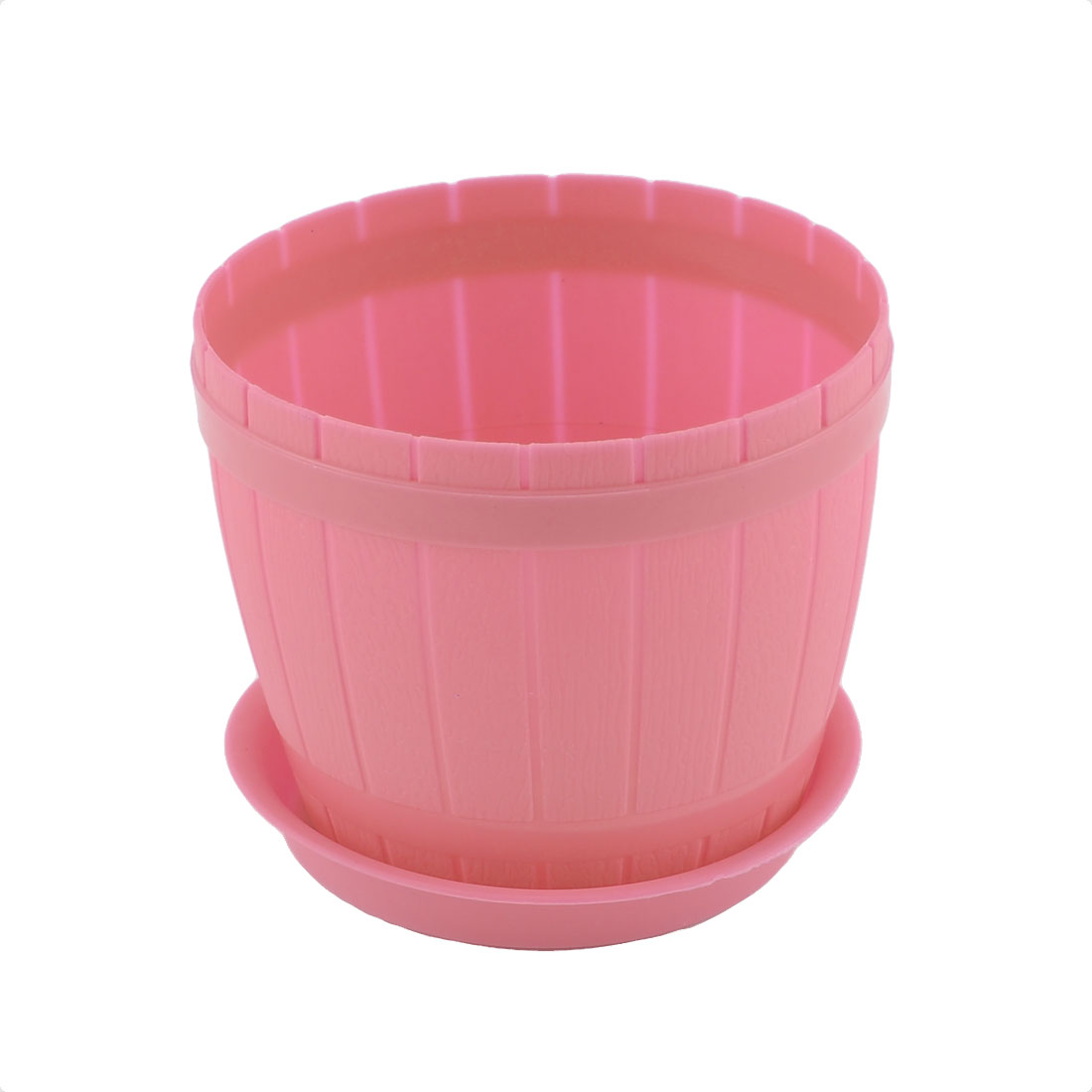 Balcony Garden Office Plastic Barrel Shape Plant Flower Pot Holder Pink w Tray