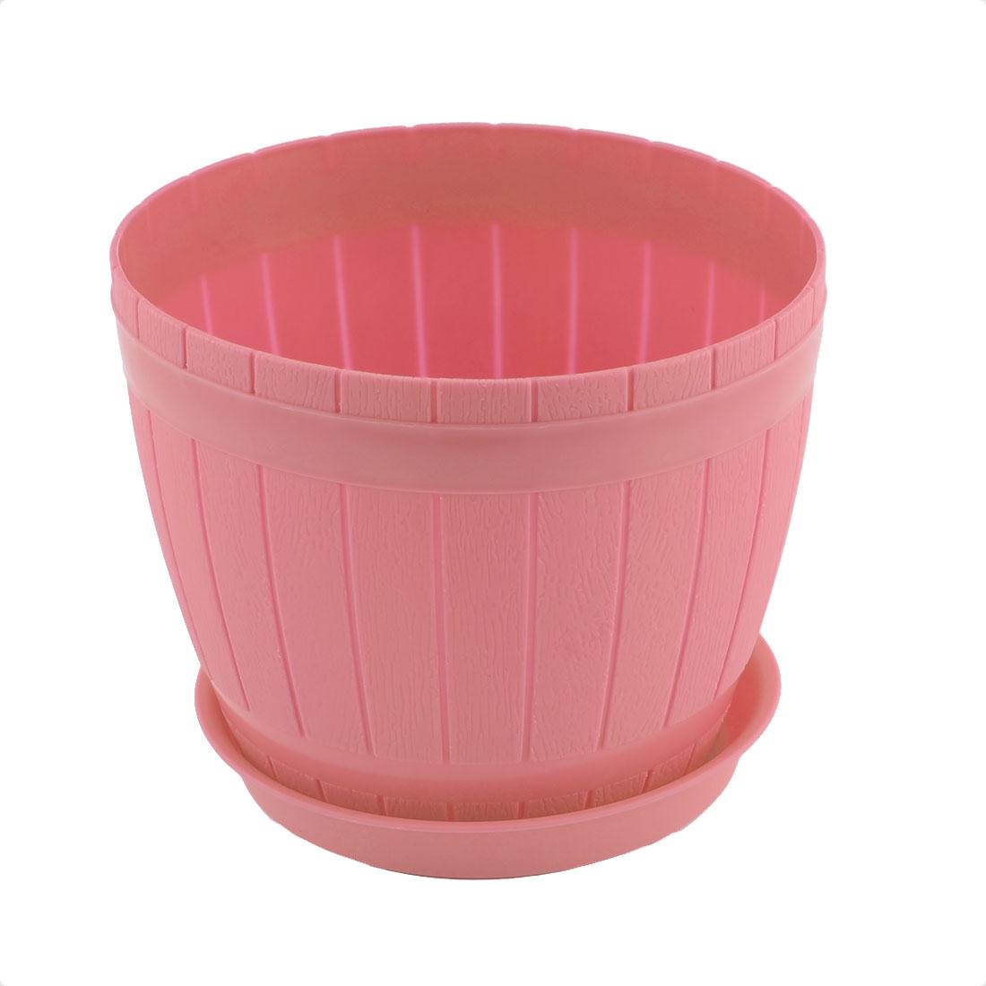 Home Windowsill Office Plastic Box Shape Plant Flower Pot Planter Pink w Tray