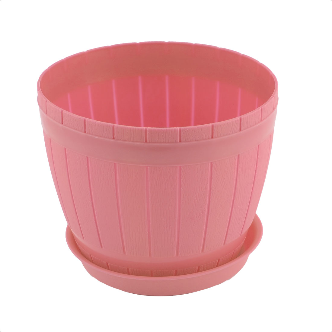 Home Office Hotel Decor Plastic Casks Shape Plant Flower Pot Holder Pink w Tray
