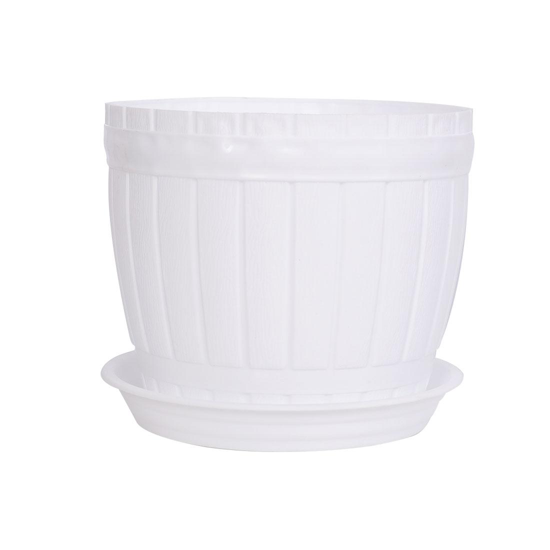 Balcony Garden Hotel Plastic Barrel Shape Plant Flower Pot Holder White w Tray