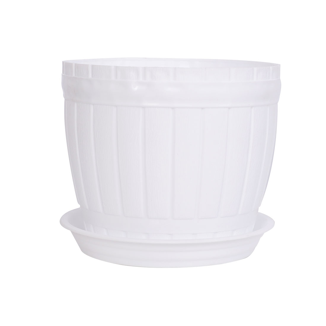 Home Office Hotel Desk Plastic Casks Shape Plant Flower Pot Holder White w Tray