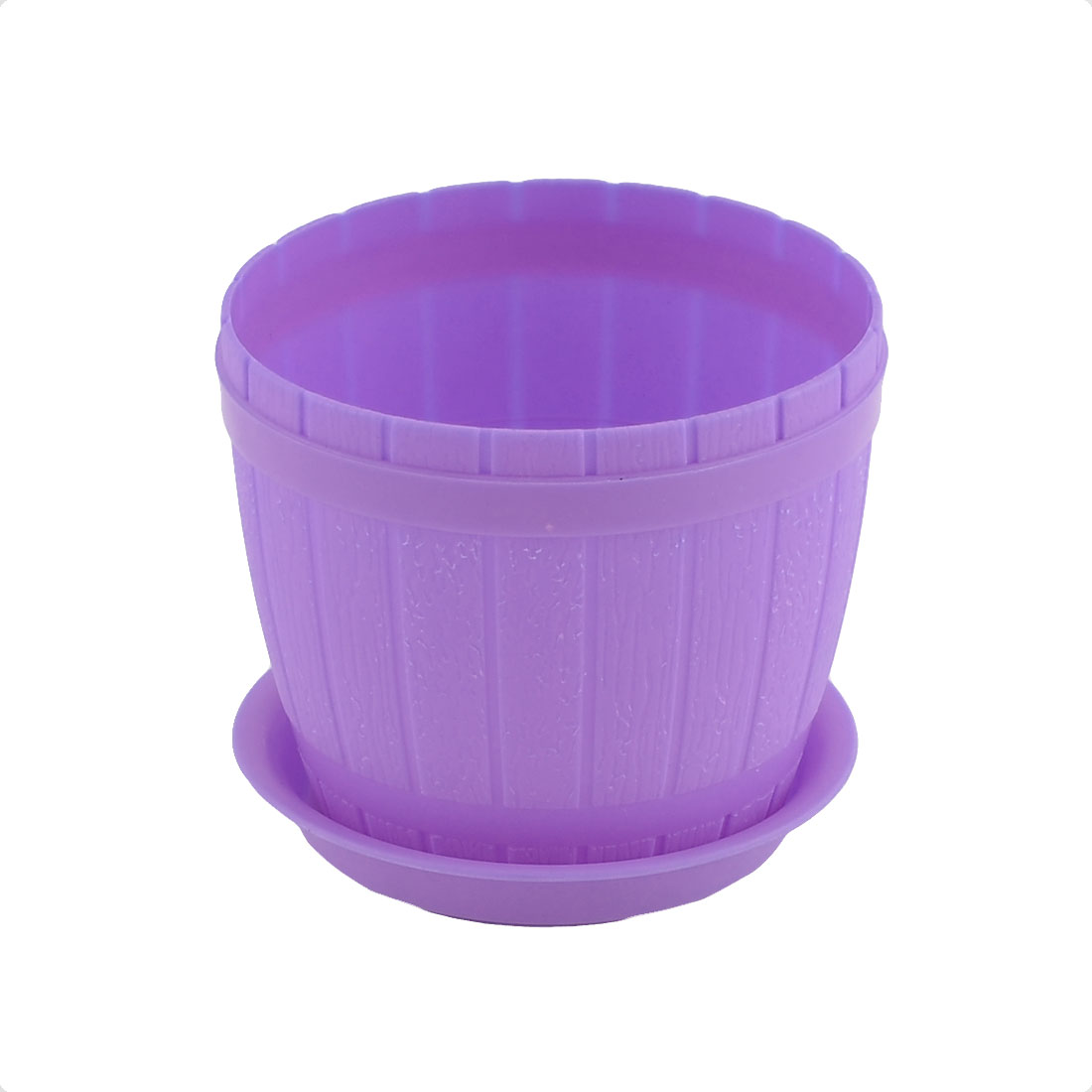 Home Garden Office Hotel Desk Plastic Plant Flower Pot Holder Purple w Tray