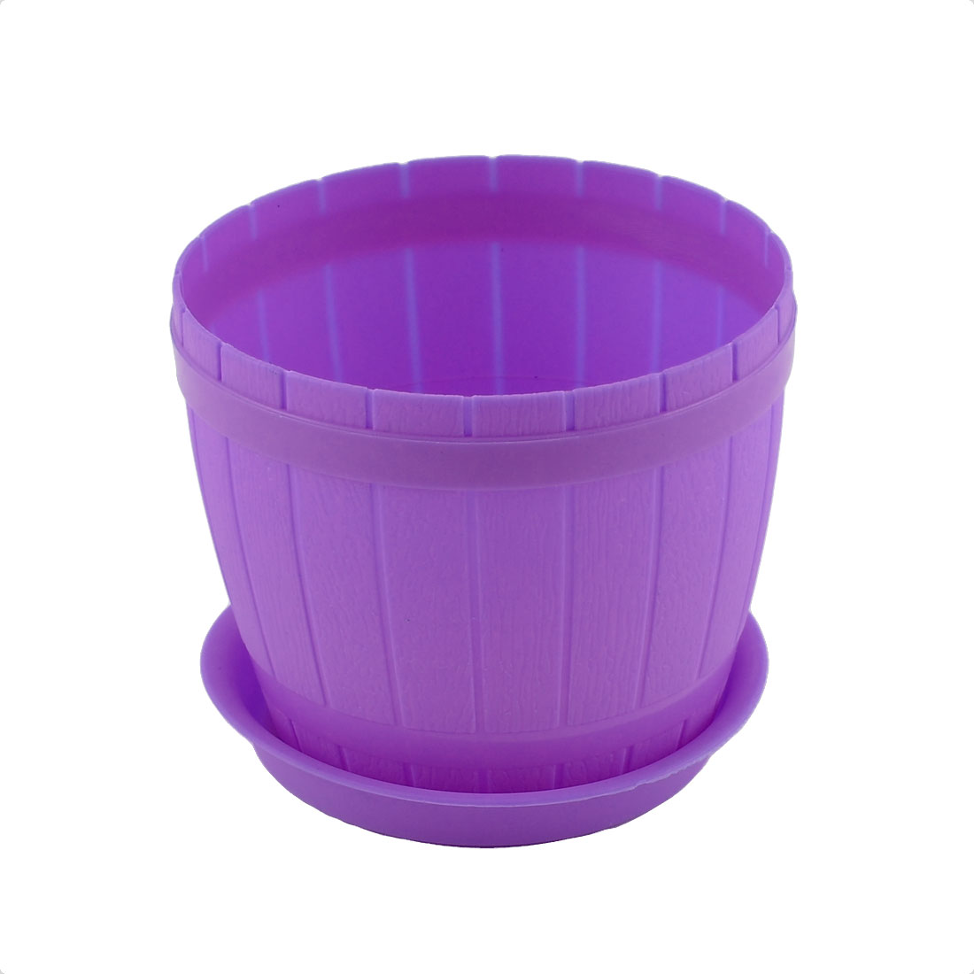 Balcony Garden Office Plastic Plant Flower Pot Holder Purple w Tray