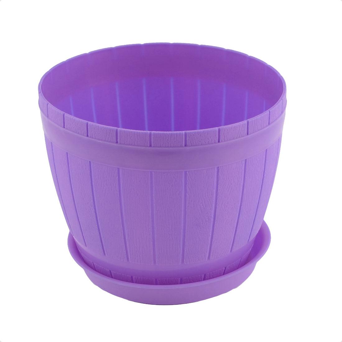 Home Windowsill Hotel Plastic Barrel Shape Plant Flower Pot Holder Purple w Tray