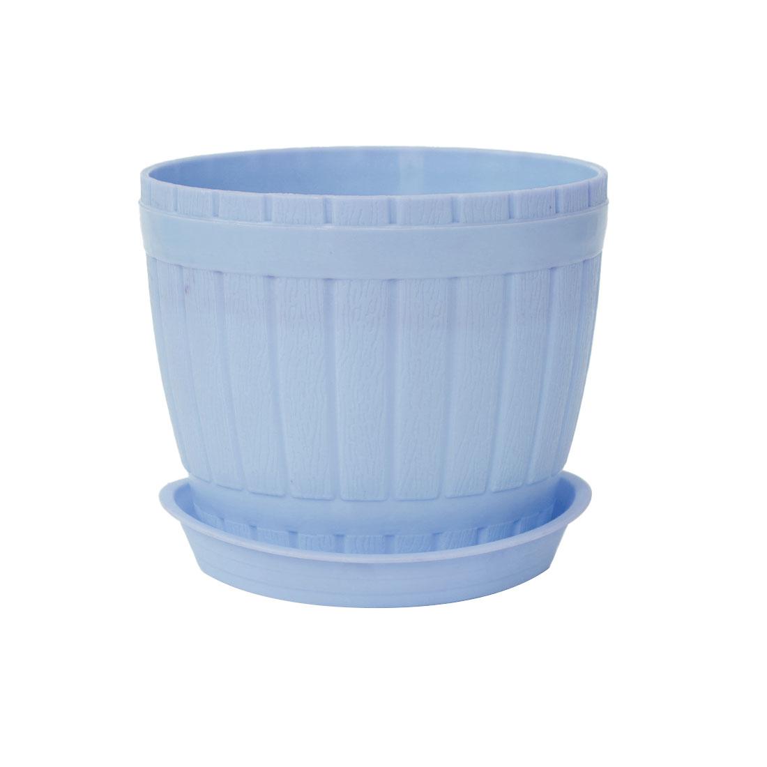 Home Garden Office Hotel Desk Plastic Plant Flower Pot Holder Light Blue w Tray