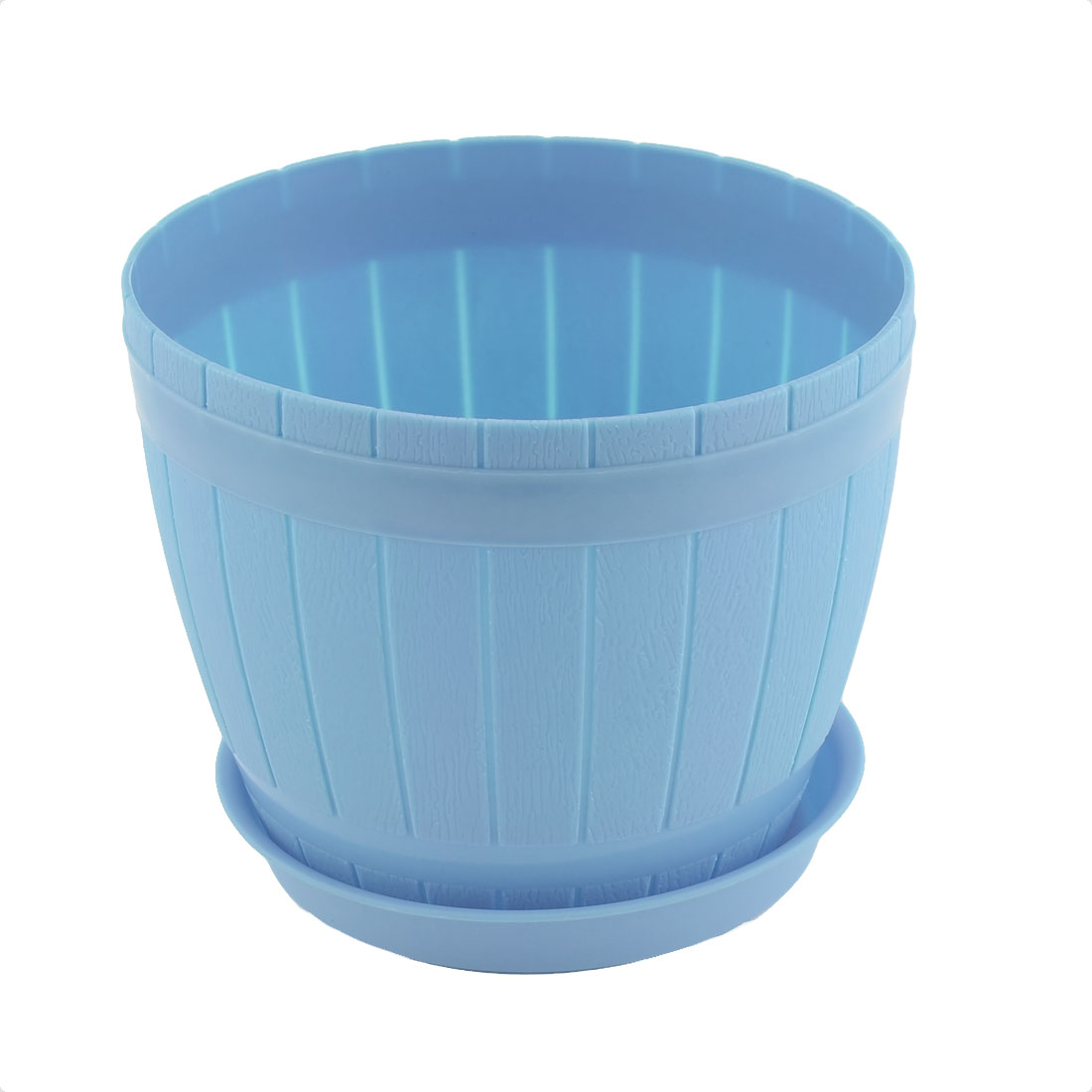 Home Office Hotel Decor Plastic Casks Shape Plant Flower Pot Light Blue w Tray