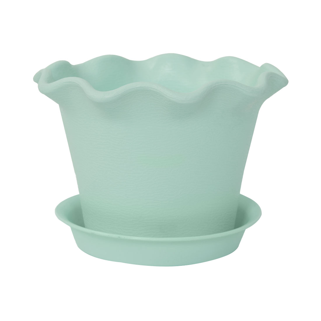 Home Office Garden Plastic Floral Shaped Plant Flower Pot Turquoise w Tray