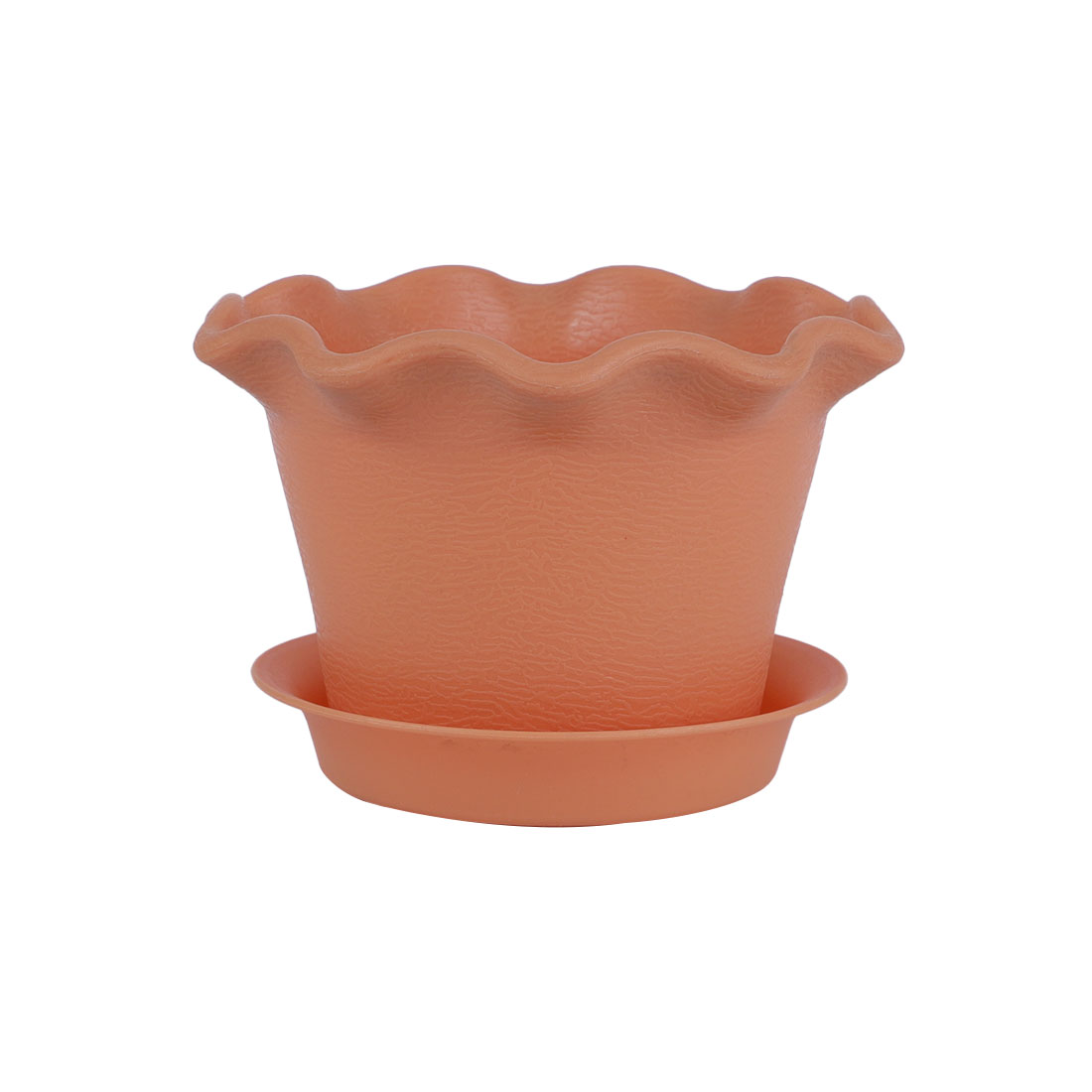 Home Patio Garden Plastic Floral Shaped Cactus Plant Flower Pot Office Decor Camel w Tray