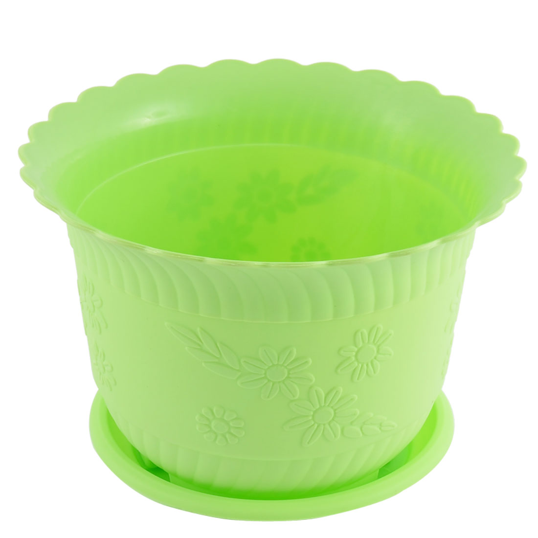 Home Office Garden Plastic Floral Pattern Cactus Aloe Plant Flower Pot Light Green w Tray