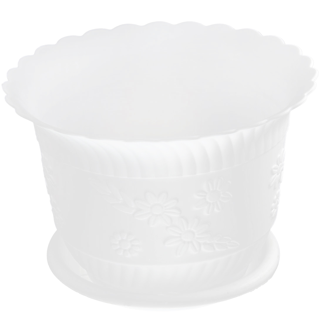 Home Office Garden Plastic Floral Pattern Plant Flower Pot White w Tray