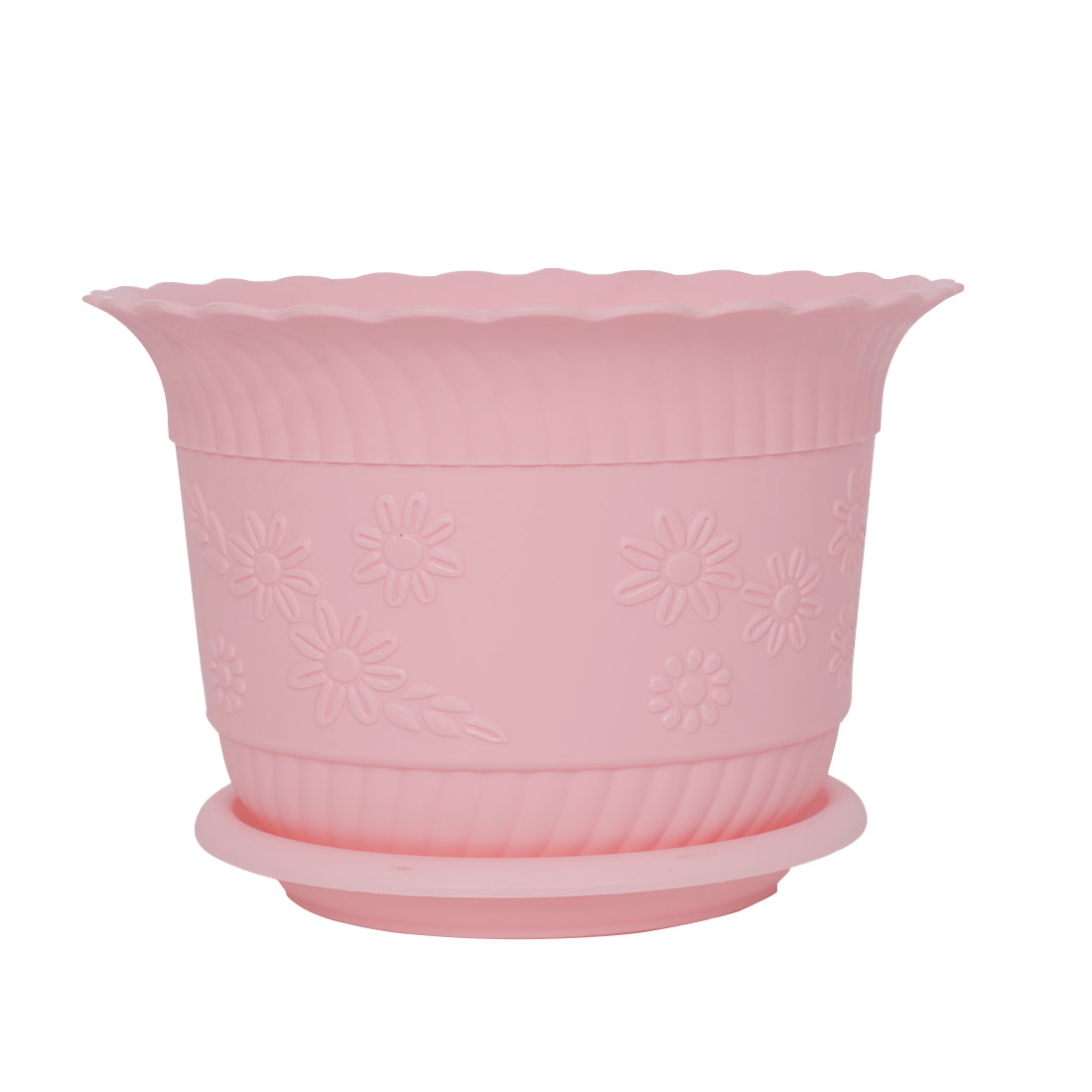 Home Office Garden Plastic Floral Pattern Plant Flower Pot Pink w Tray