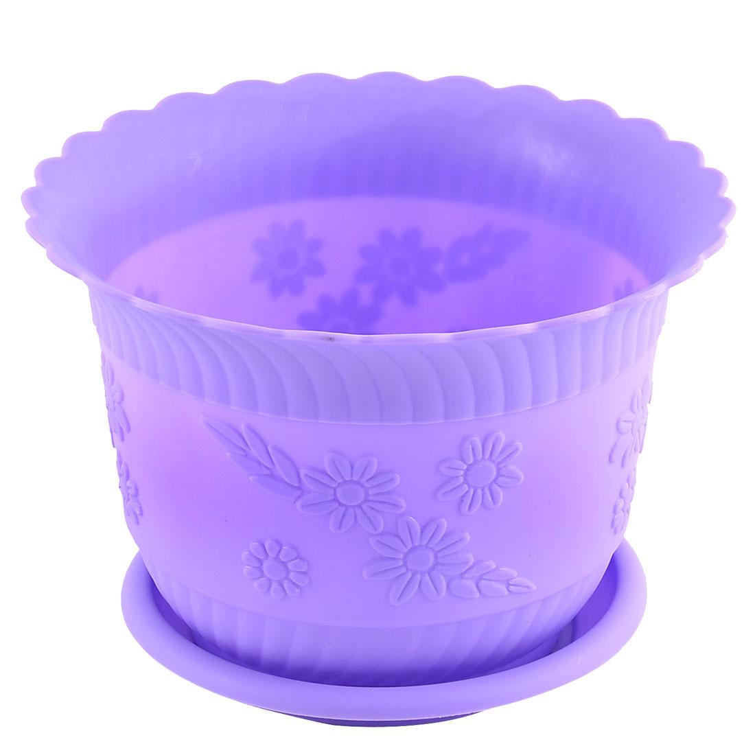 Home Office Garden Plastic Floral Pattern Plant Flower Pot Purple w Tray