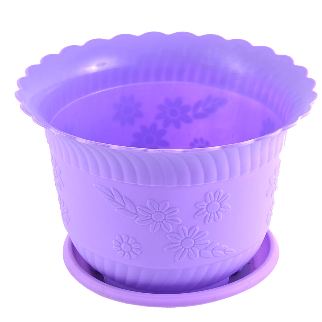 Home Office Garden Plastic Floral Pattern Cactus Aloe Plant Flower Pot Purple w Tray