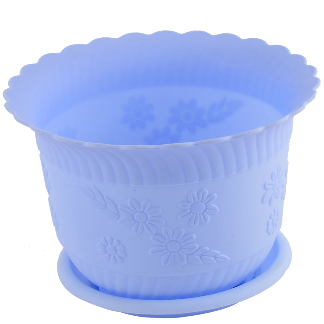 Home Office Garden Plastic Floral Pattern Plant Flower Pot Sky Blue w Tray