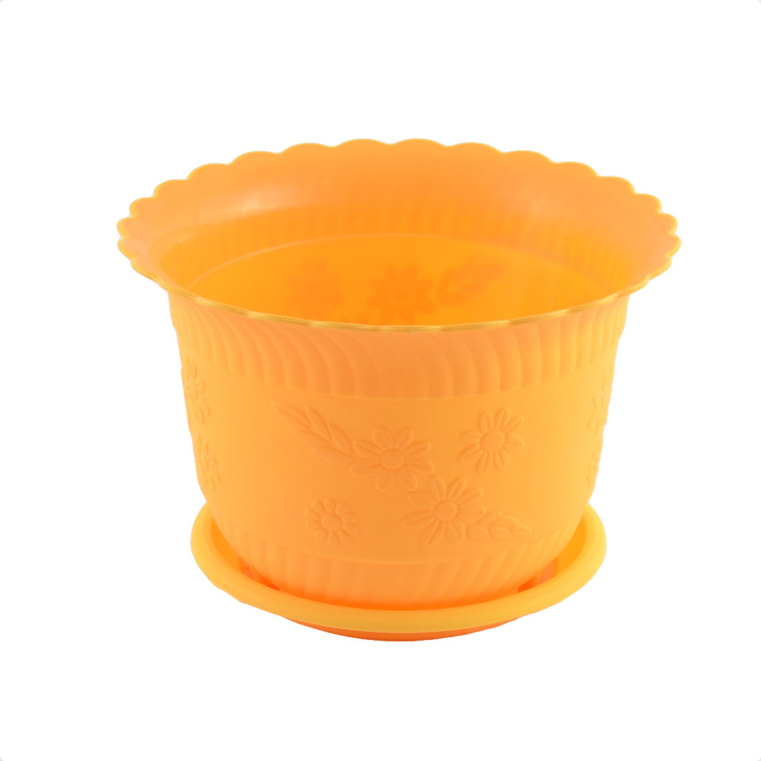 Home Office Garden Plastic Floral Pattern Plant Flower Pot Orange w Tray