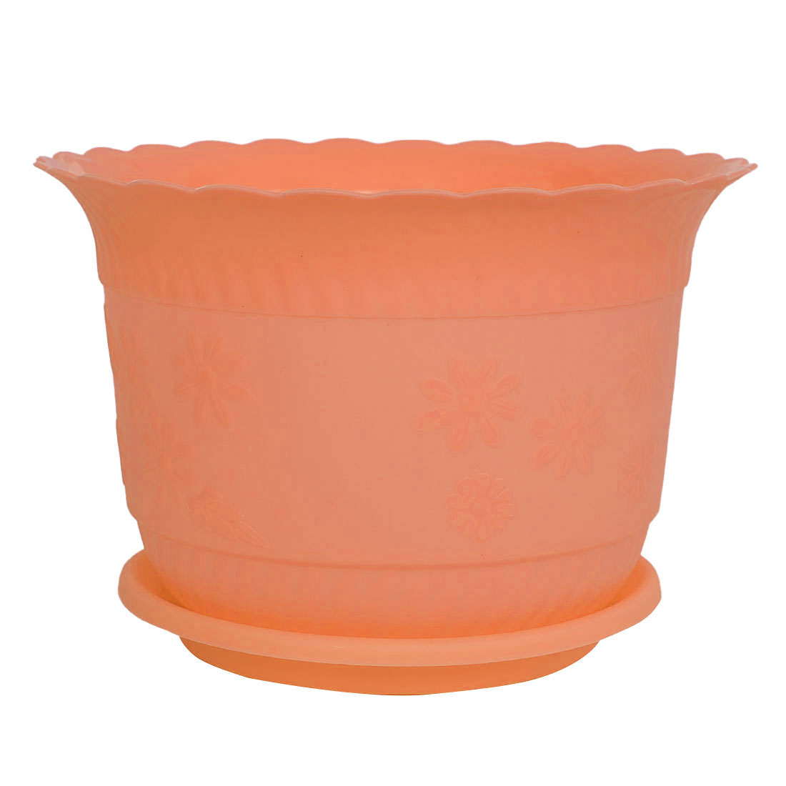 Home Office Garden Plastic Floral Pattern Plant Flower Pot Orange 23cm Diameter