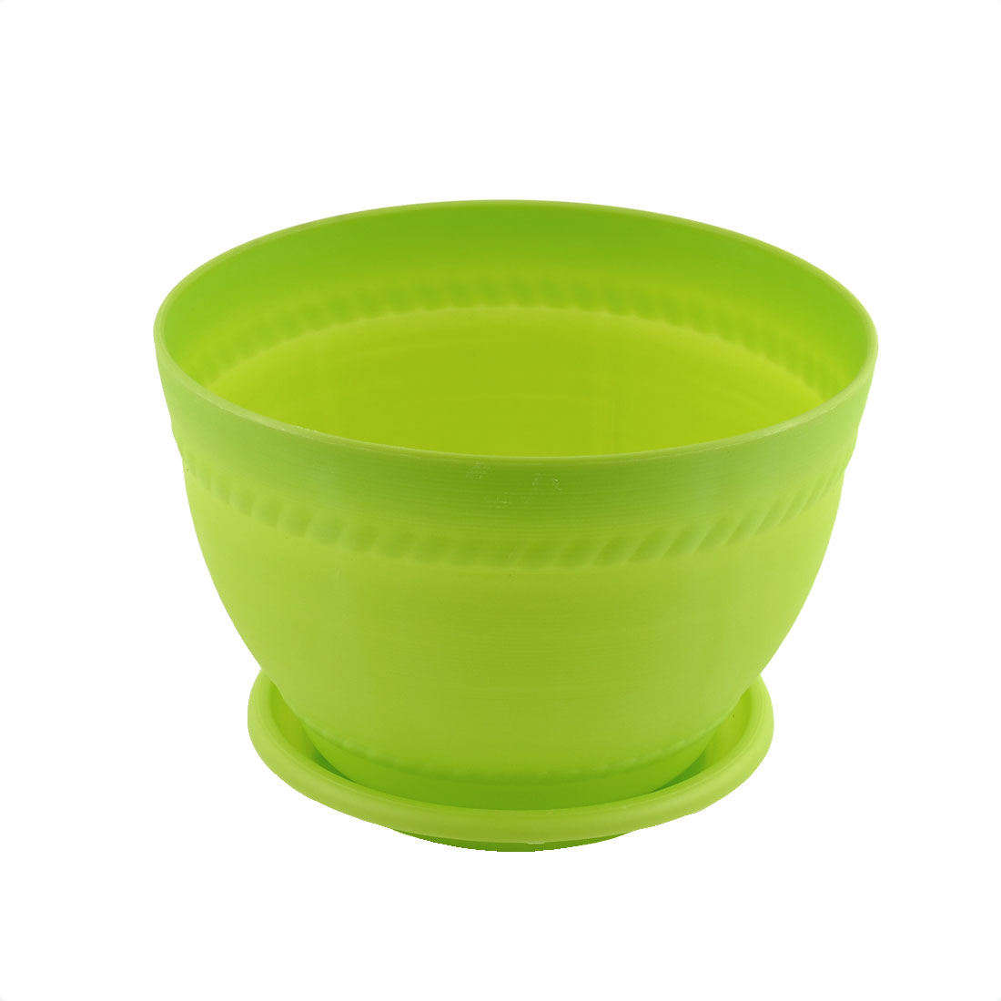 Home Hotel Desk Plastic Pottery Clay Style Plant Flower Pot Light Green w Pallet