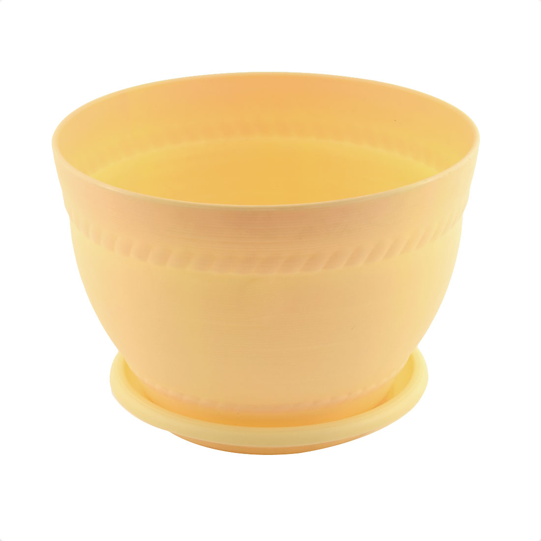Home Office Plastic Pottery Clay Style Plant Flower Pot Holder Yellow w Pallet