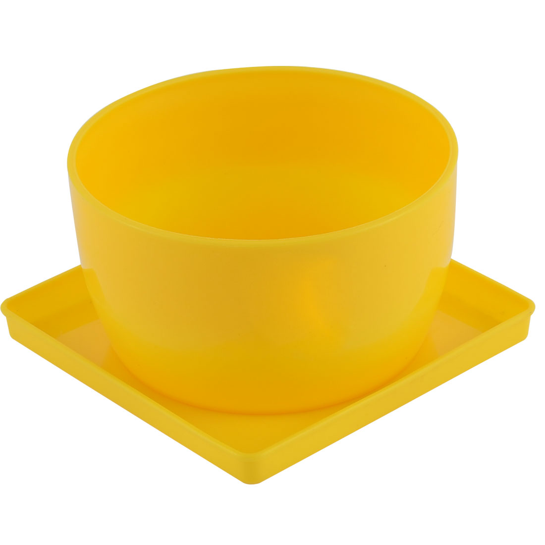 Home Patio Garden Plastic Bowl Shaped Cactus Aloe Plant Flower Pot Yellow w Tray