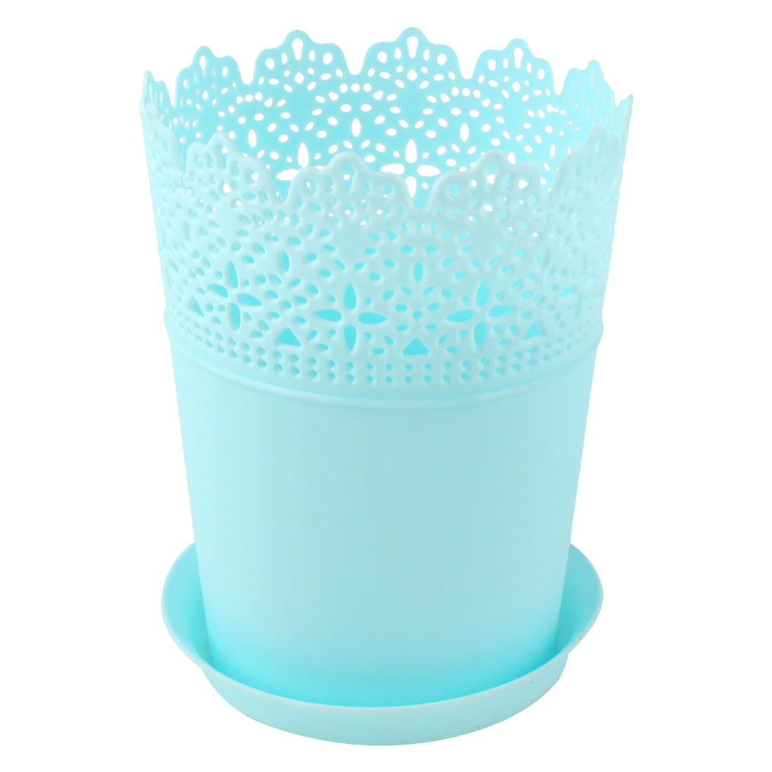 16cm Height Sky Blue Plastic Crown Lace Plant Flower Pot Home Garden Decor w Tray
