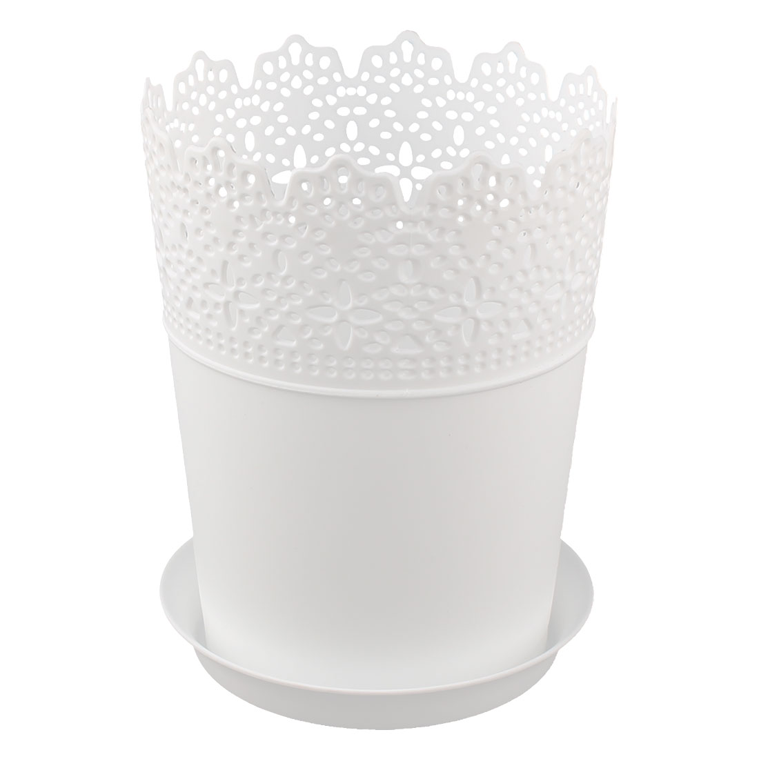 16cm Height White Plastic Lace Plant Planter Flower Pot Home Garden Decor w Tray