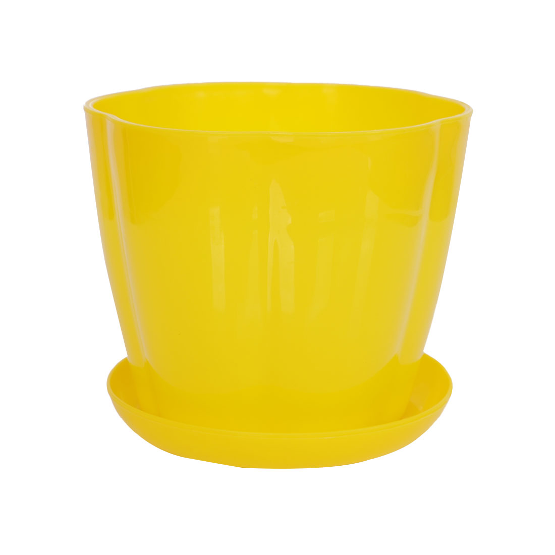 Home Garden Plastic Petal Shaped Plant Planter Holder Flower Pot Yellow w Tray