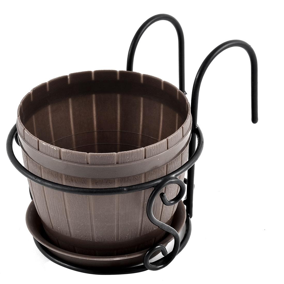 Home Patio Garden Plastic Bucket Shaped Cactus Aloe Plant Flower Pot Brown Black