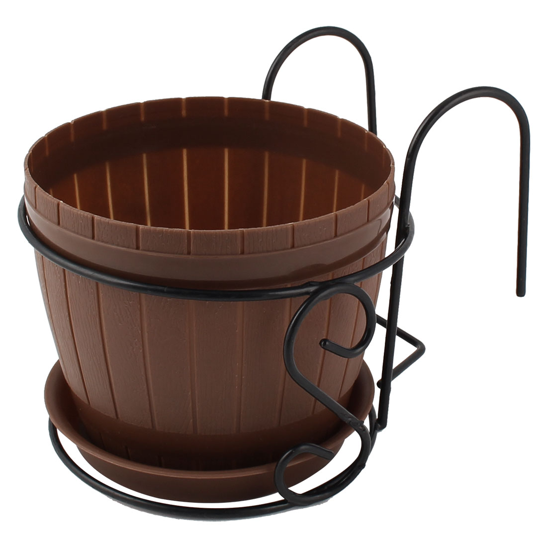 Home Balcony Garden Metal Rack Plastic Bucket Shaped Plant Flower Pot Brown Black