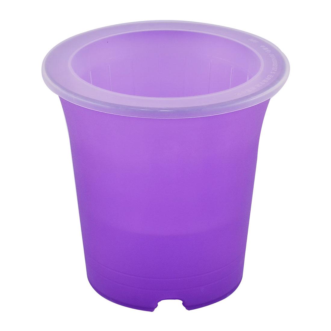 Desktop Decor Plastic Round Design Self Watering Planter Flower Pot Purple