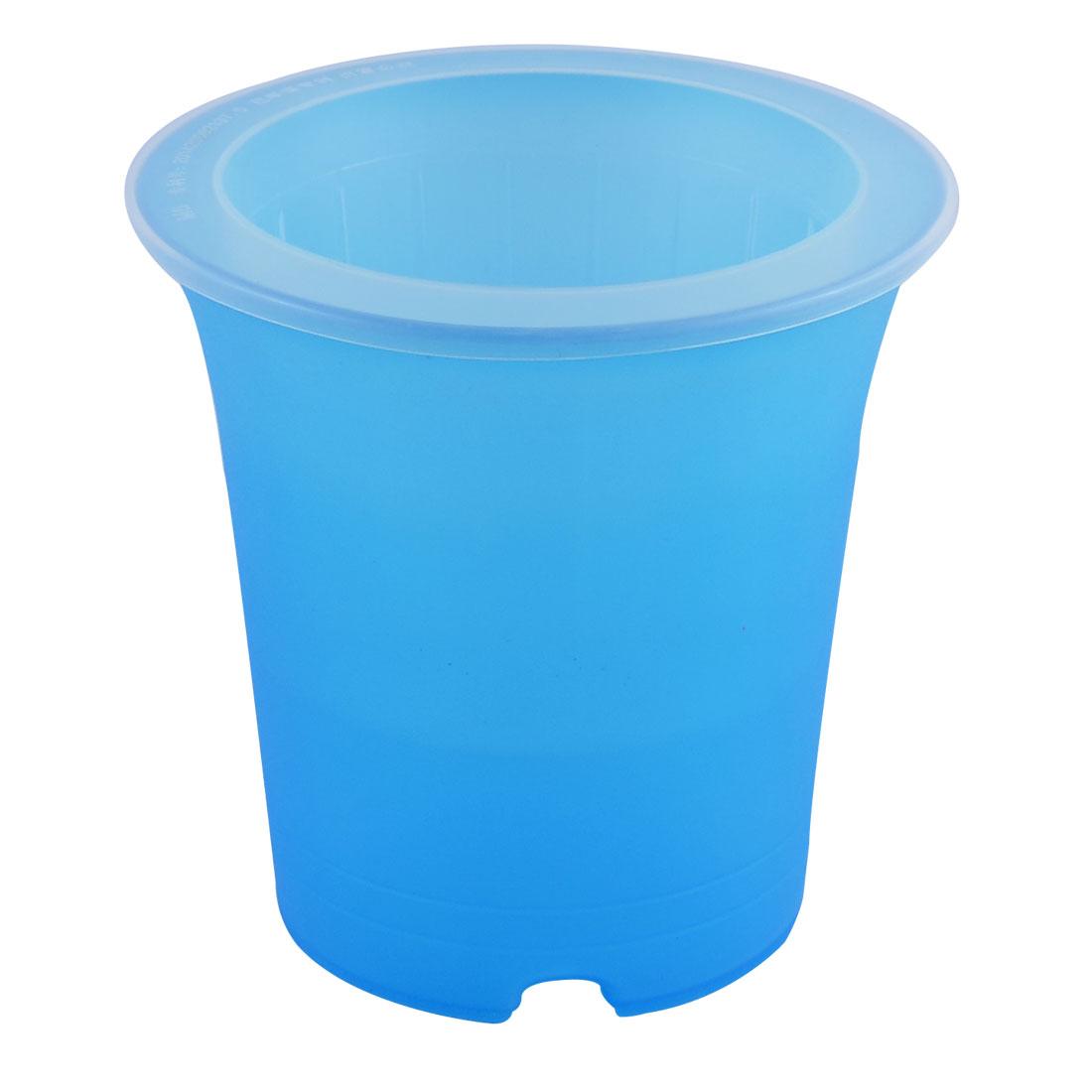 Desktop Decor Plastic Cylinder Shape Self Watering Planter Flowerpot Blue