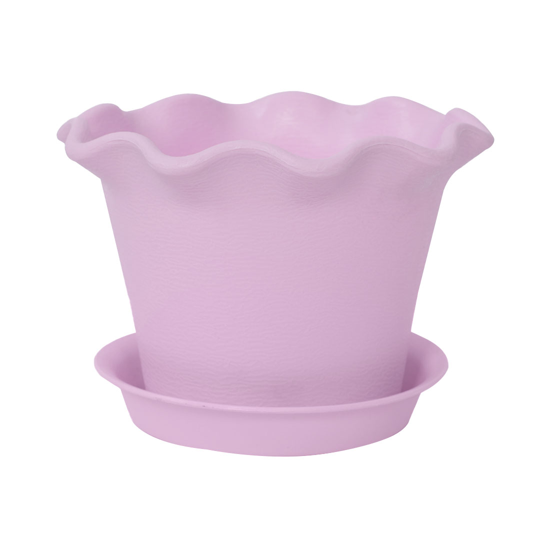 Home Office Plastic Petal Shaped Plant Planter Holder Flower Pot Purple w Tray