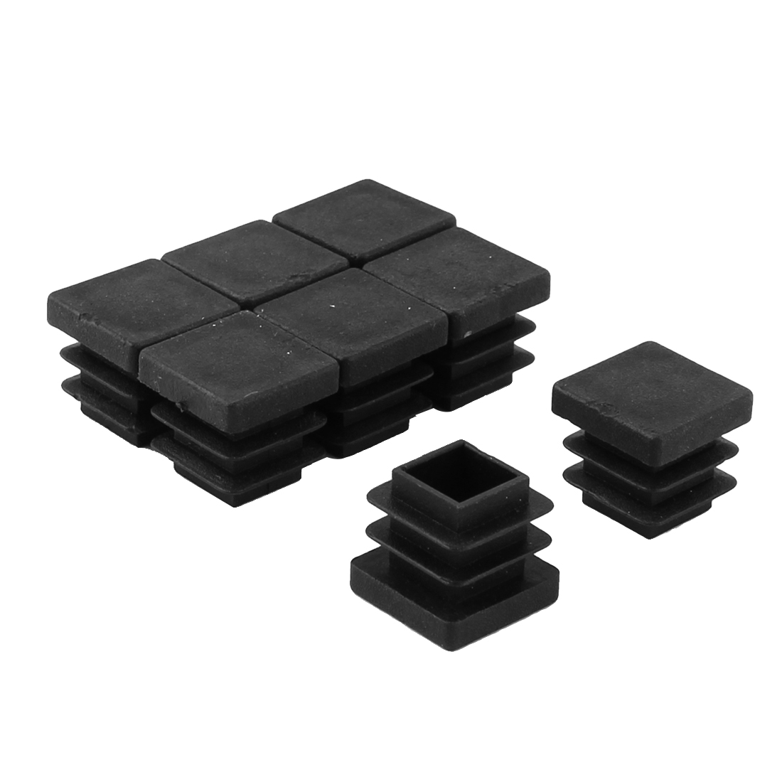 Table Chair Legs Plastic Furniture Protector Square Tube Inserts Black 8pcs