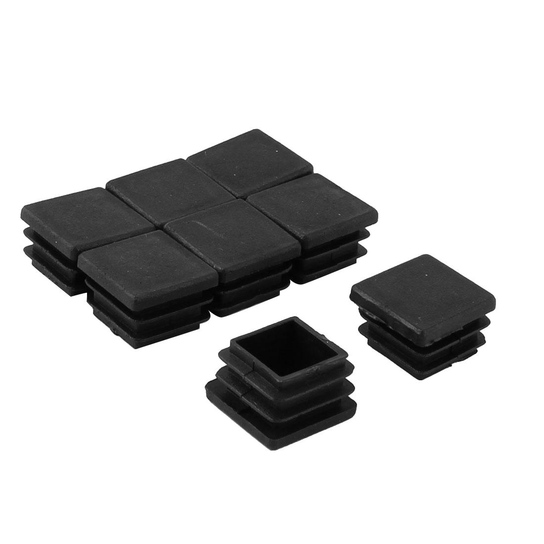 Plastic Square Tube Inserts Furniture Glides End Blanking Caps Black 8pcs