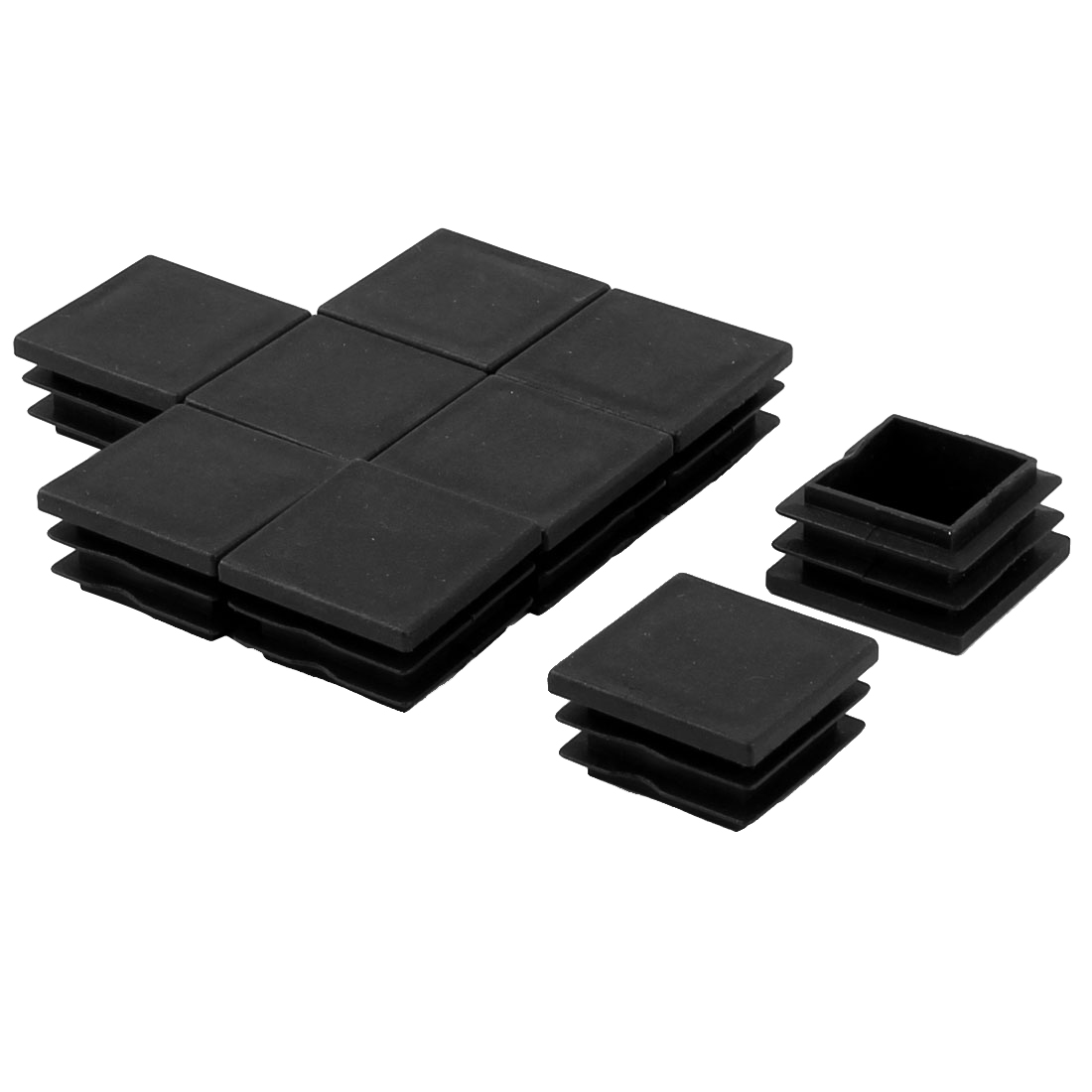 Desk Table Feet Plastic Square Tube Inserts End Blanking Caps Black 9pcs