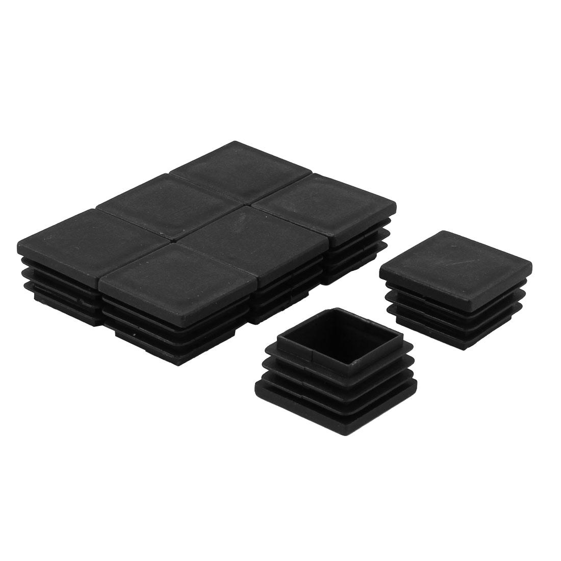 Desk Table Chair Feet Plastic Square Tube Pipe Inserts Black 30 x 30mm 8pcs