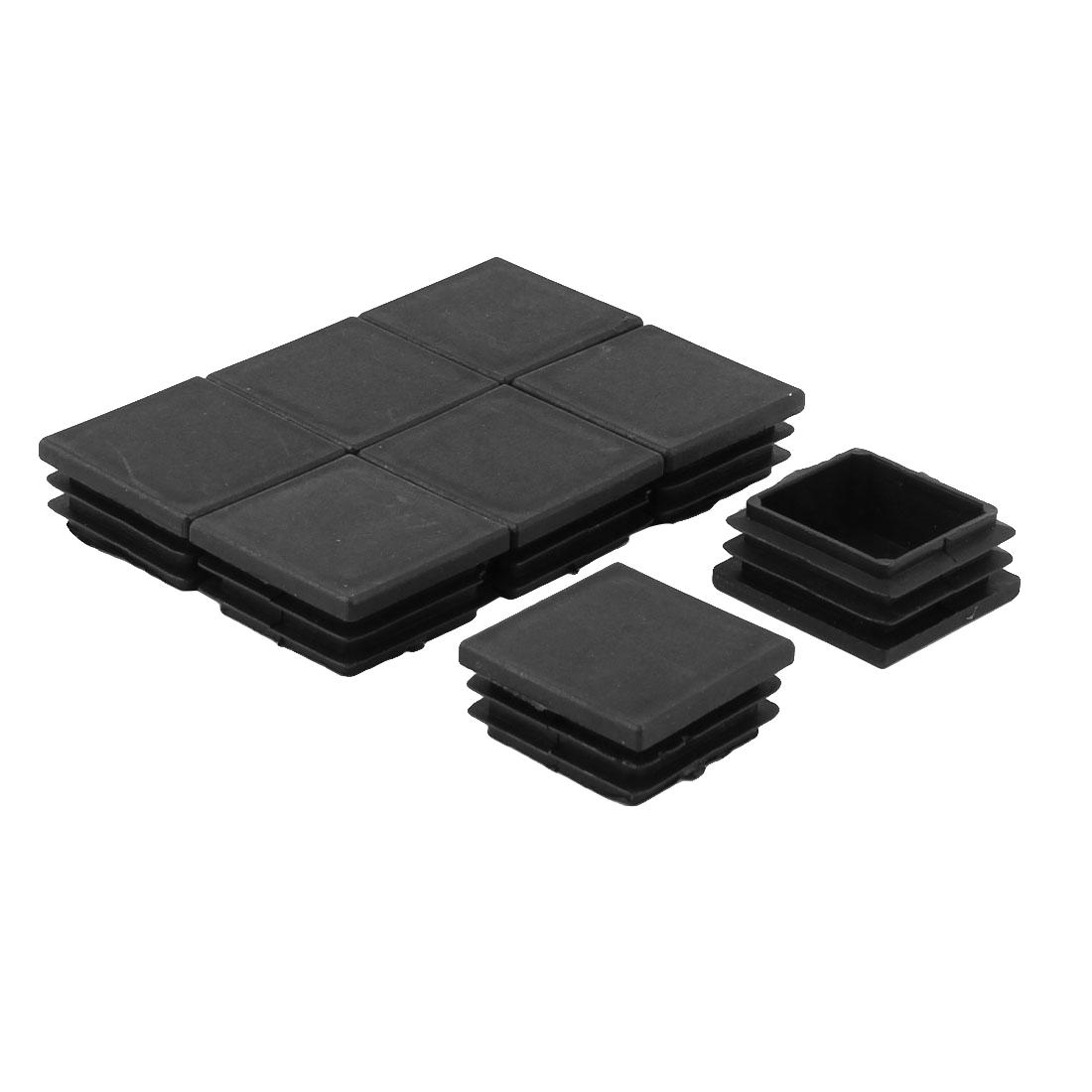 Table Chair Feet Plastic Square Tube Inserts End Blanking Caps Black 8pcs