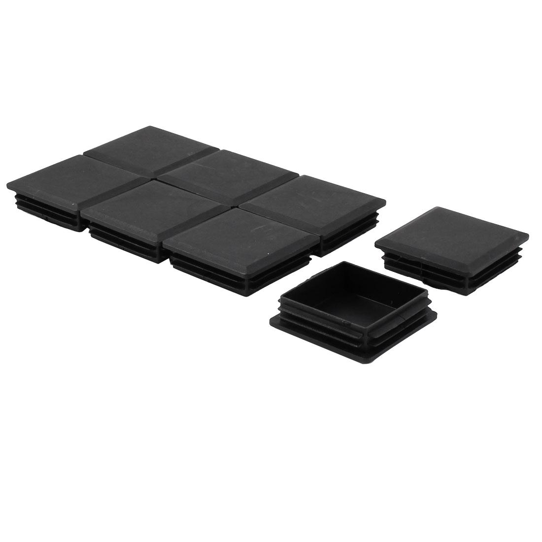 Furniture Table Chair Legs Plastic Square Pipe Tube Inserts Plugs Black 8pcs