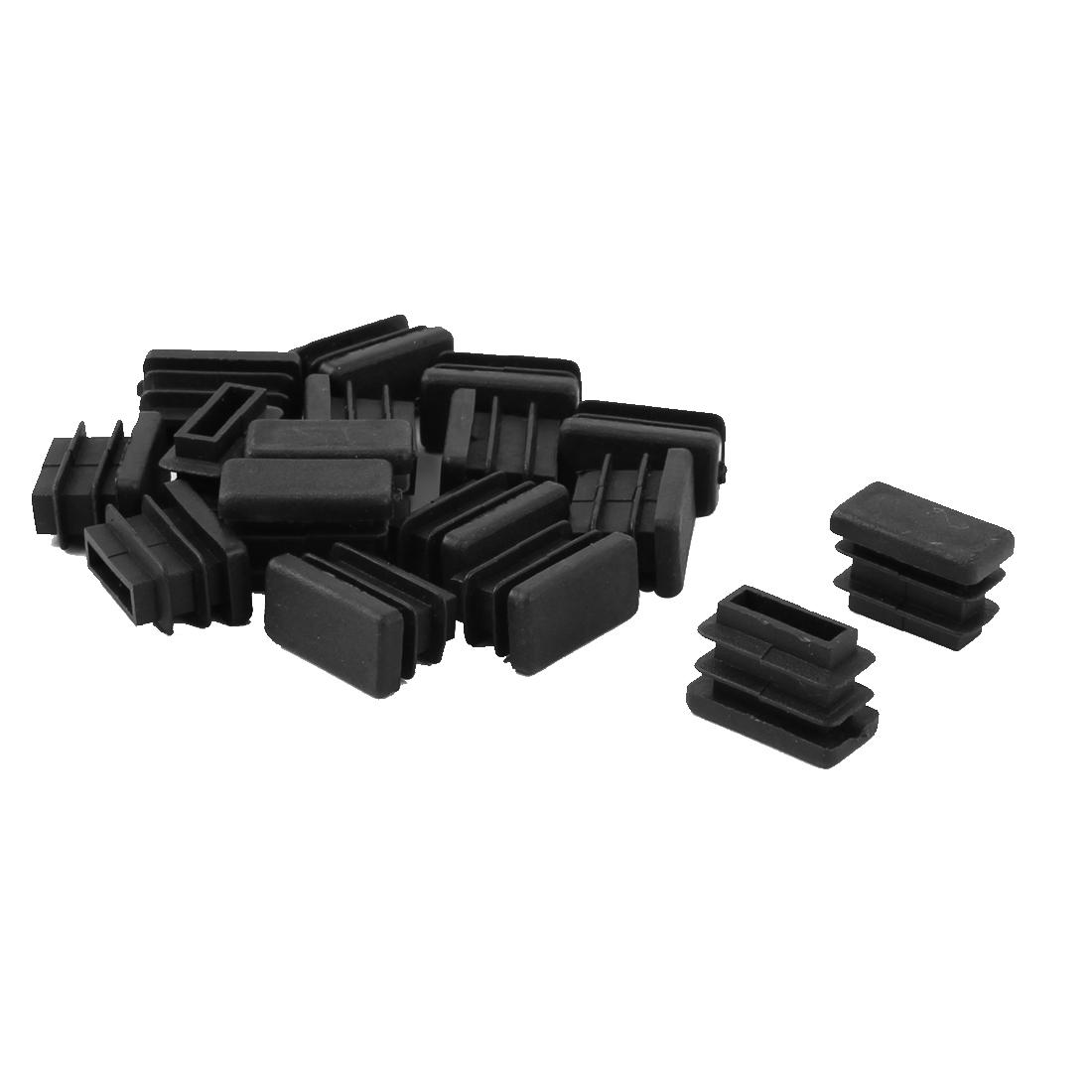 Plastic Rectangle Tube Inserts Furniture Glides End Blanking Caps Black 16pcs