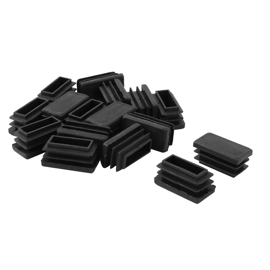 Desk Chair Feet Plastic Rectangle Tube Inserts End Blanking Caps Black 16pcs