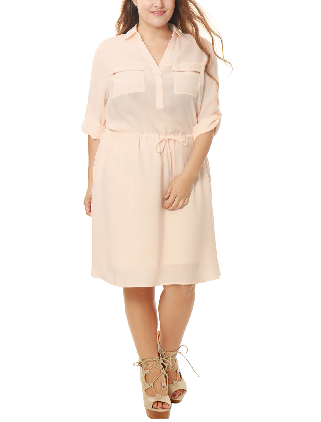 Women Plus Size Drawstring Waist Roll Up Sleeves Dress Pink 1X