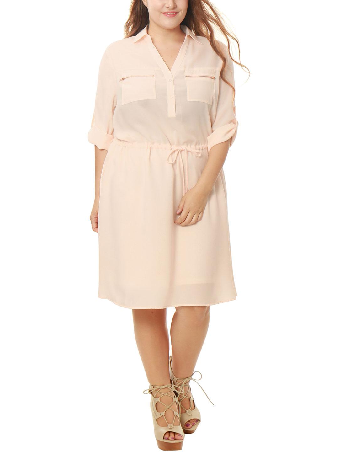 Women Plus Size Drawstring Waist Roll Up Sleeves Dress Pink 2X