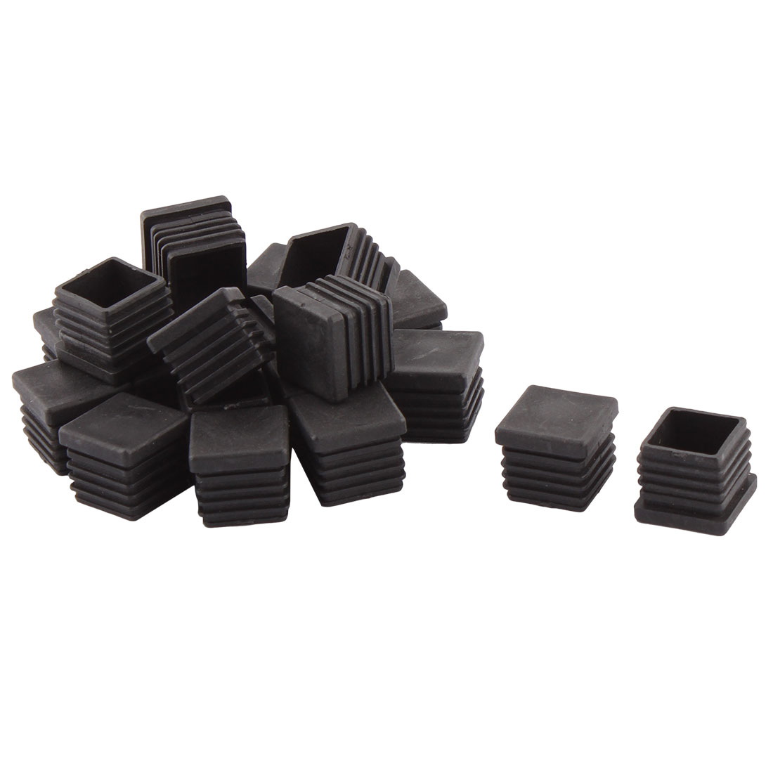 Home Office Plastic Square Shaped Table Chair Leg Tube Pipe Insert Black 22 x 22mm 20 PCS