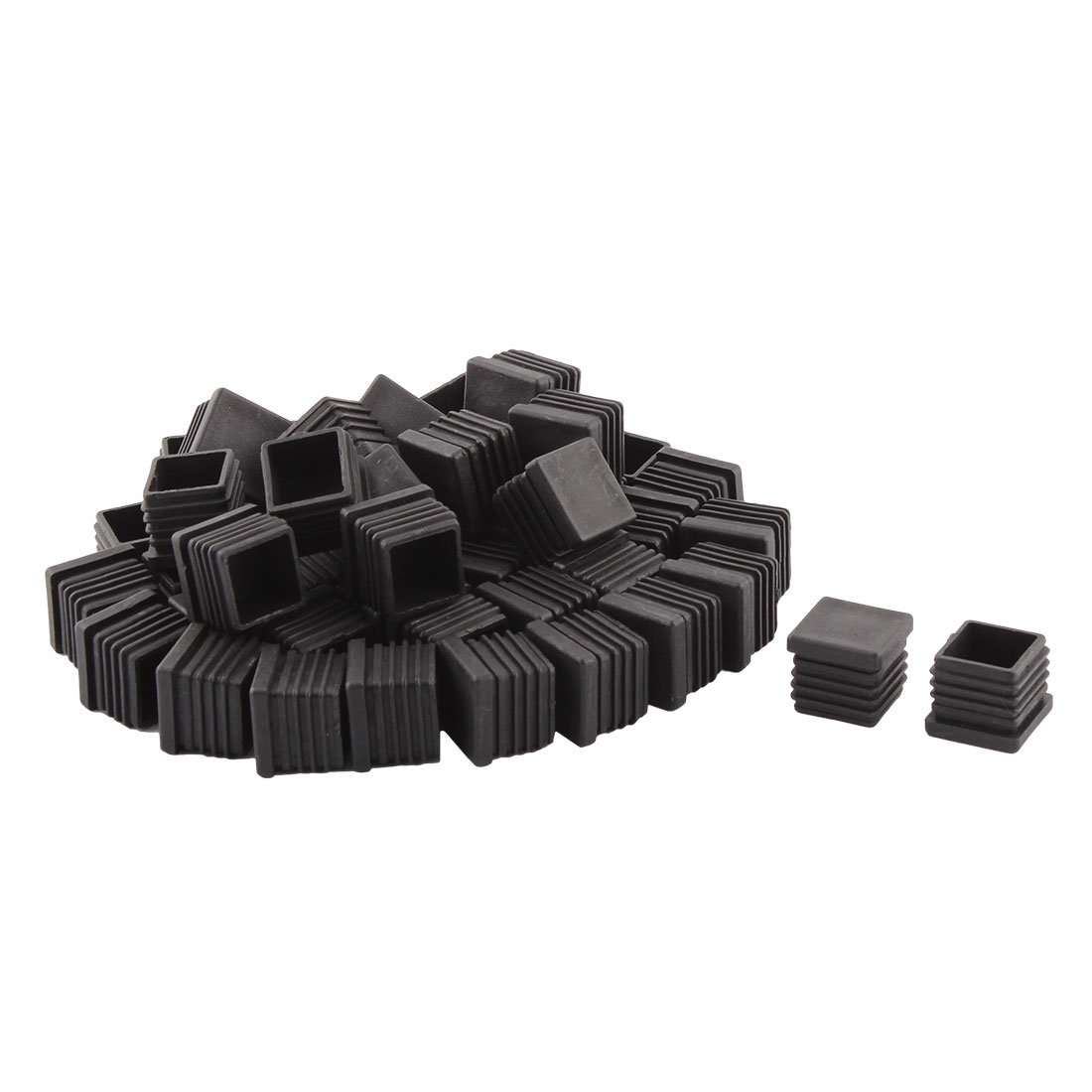 Home Office Plastic Square Shaped Table Chair Leg Tube Pipe Insert Black 22 x 22mm 50 PCS