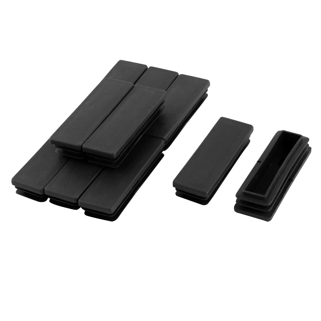 Household Plastic Rectangular Shaped Table Chair Leg Tube Pipe Insert Black 75 x 25mm 10 PCS