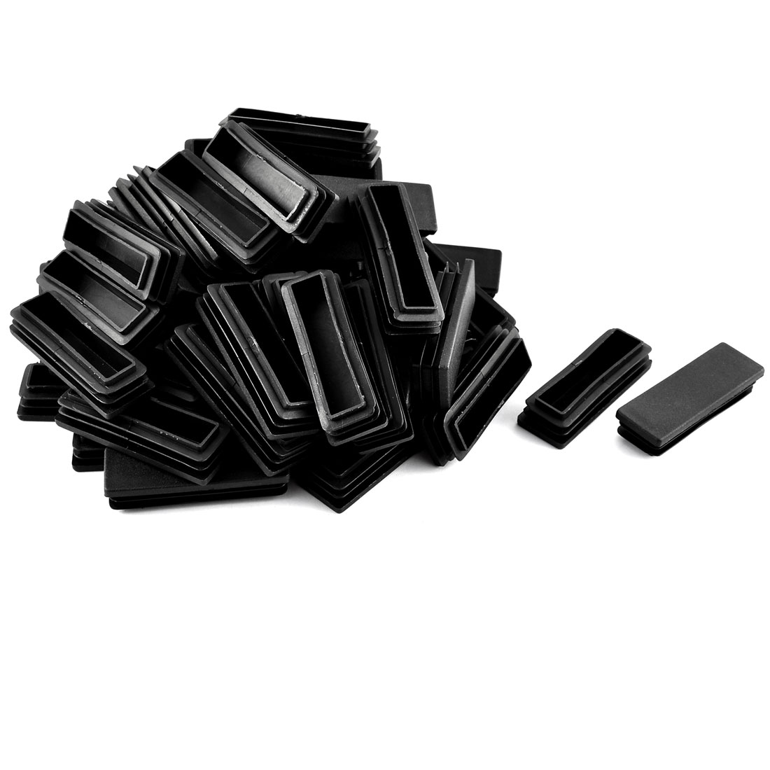Home School Plastic Rectangular Shaped Table Chair Leg Feet Tube Insert Black 50 Pcs