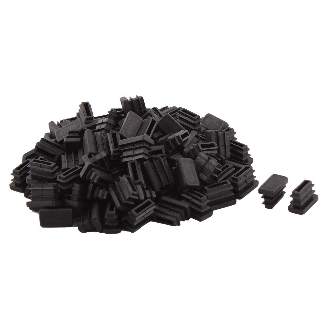 Household Plastic Rectangular Shaped Table Chair Leg Feet Tube Pipe Insert Black 20 x 10mm 100 PCS