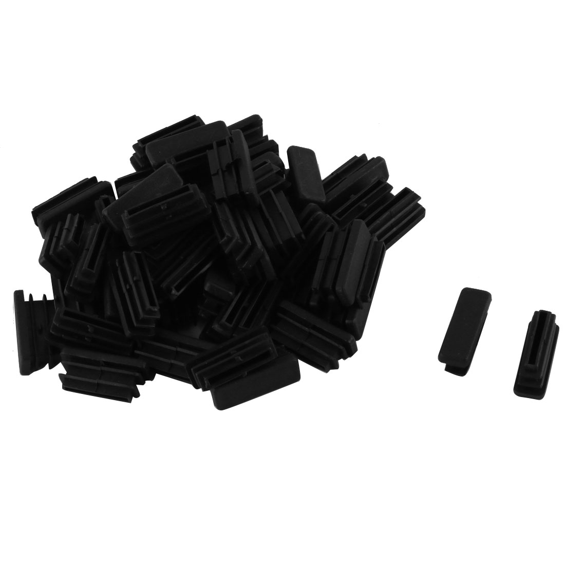 Household Plastic Rectangular Shaped Table Chair Leg Tube Pipe Insert Black 30 x 10mm 50 PCS
