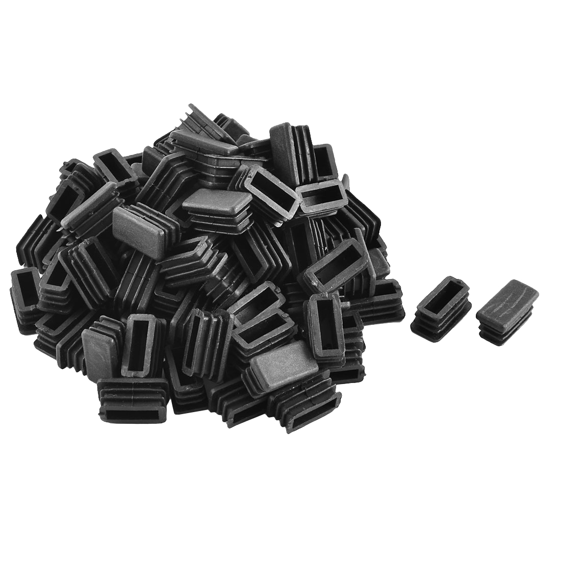 Plastic Rectangle Tube Pipe Inserts End Blanking Cap Black 13mm x 26mm 100pcs